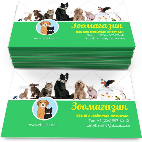 Образец Визитка Зоомагазин для животных
