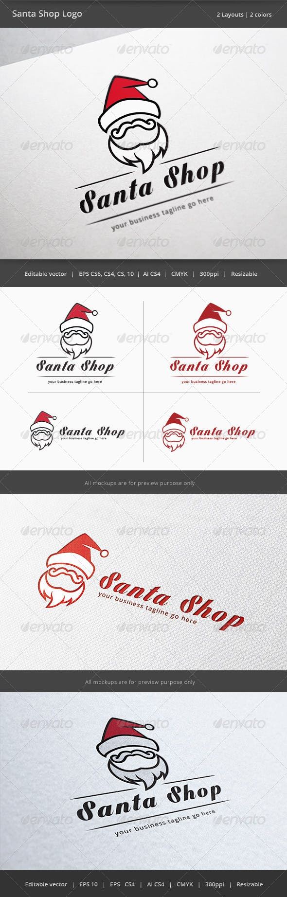 Дизайн логотипа Деда Мороза для визитки